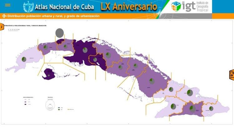 Vista de una versión de prueba del nuevo Atlas Nacional de Cuba. Foto: juventudtecnica.cu