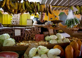 Una vendedora cuenta dinero luego de vender unas verduras a un cliente en su puesto en La Habana. Foto: Ismael Francisco / AP / Archivo.