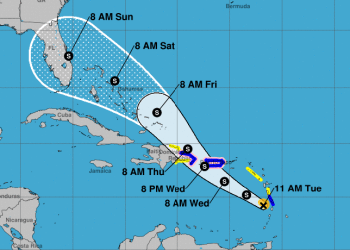 Cono de trayectoria pronosticada de la tormenta tropical Dorian, el martes 27 de agosto de 2019. Infografía: nhc.noaa.gov