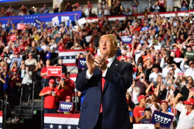 El presidente Donald Trump en un acto de campaña en Río Rancho, Nuevo México, el 16 de septiembre de 2019. Foto: @JamesNavaCom / Twitter.