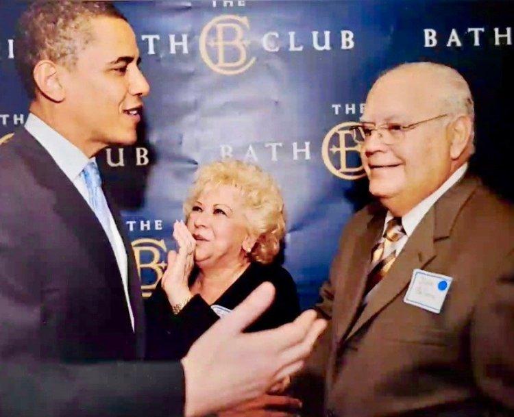 El empresario Julio Balsera (d) y su esposa, Esther, apoyaron con fuerza al presidente Barack Obama. Foto: Archivo.