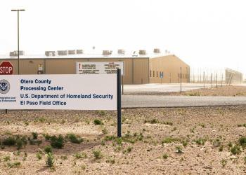 Centro de Detención de migrantes de Otero, Nuevo México, Estados Unidos. Foto: @VozDiasporaSV / Twitter.
