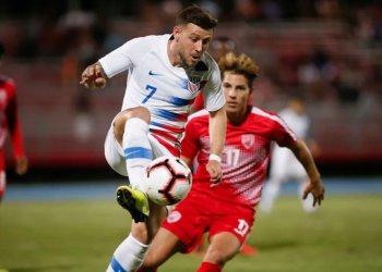 Momento del partido entre Cuba y Estados Unidos, que terminó 4-0 favorable a los estadounidenses, en George Town, Islas Caimán, el 19 de noviembre de 2019. Foto: concacafnationsleague.com