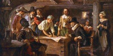 La firma del Pacto de Mayflower en 1620, una pintura de Jean Leon Gerome Ferris 1899.