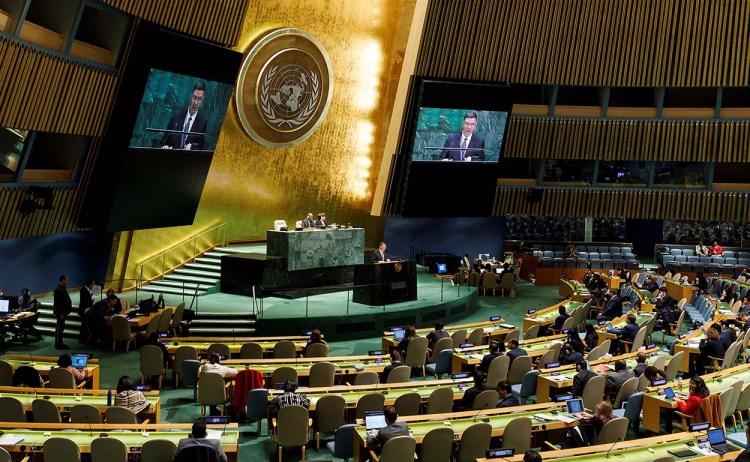 Sesión de la Asamblea General de la ONU en la que se discute el proyecto de resolución cubano contra el embargo de Estados Unidos a Cuba, en Nueva York, el 6 de noviembre de 2019. Foto: Justin Lane / EPA / EFE.