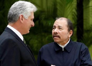 Los presidentes de Cuba, Miguel Díaz-Canel, y Nicaragua, Daniel Ortega, durante un encuentro en La Habana. Foto: EFE / Archivo.