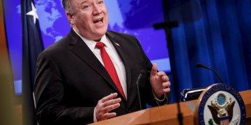 El Secretario de Estado Mike Pompeo durante la presentación del informe anual sobre la situación de los derechos humanos en el mundo, en Washington el 11 de marzo de 2020.Foto: Shawn Thew / EFE.