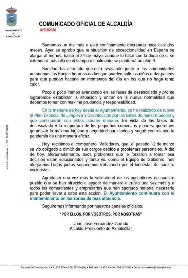 comunicado ayuntamiento Aznalcollar