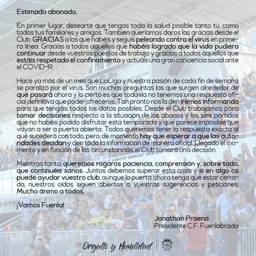 Praena informa a los aficionados de la situación de los abonos