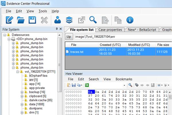 Belkasoft Evidence Center - File System List