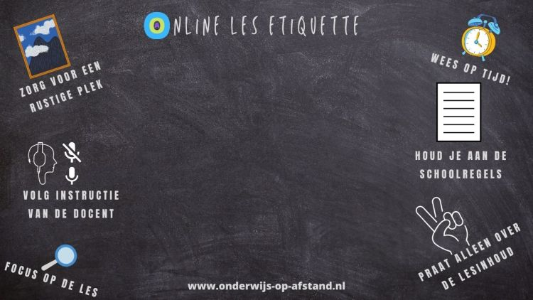 De online les etiquette achtergrond voor tijdens je les!
