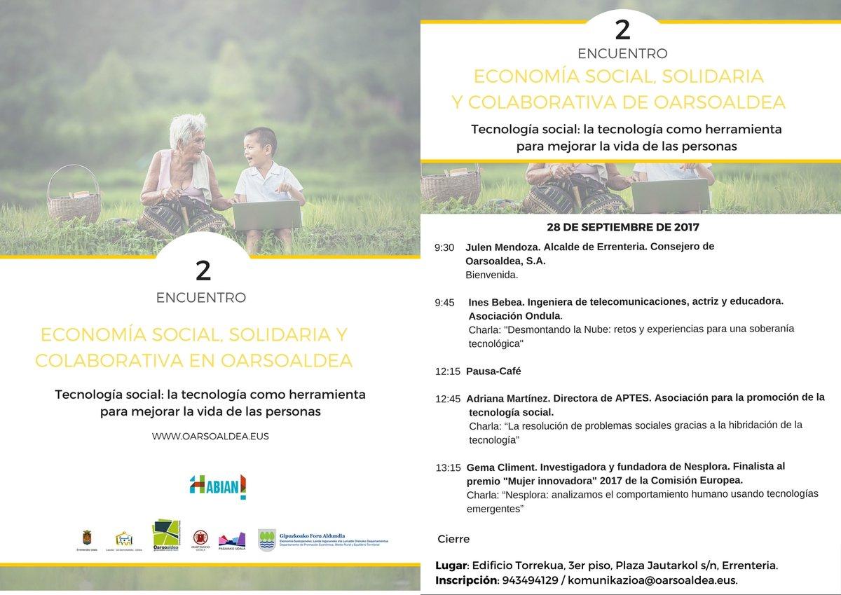 Cartel encuentro economia social oarsoaldea
