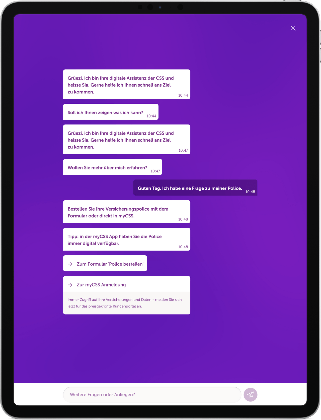 Great chatbot interface