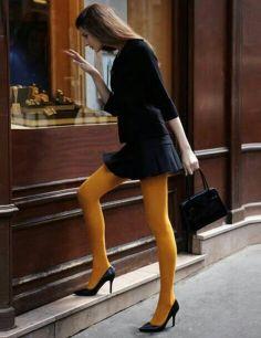 collants opaques jaune