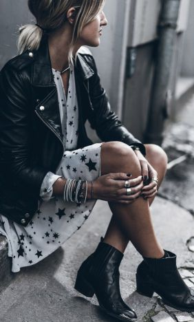 Perfecto cuir noir et robe