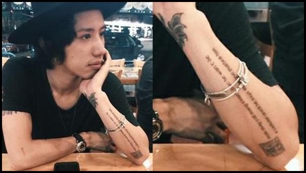 TAKA 腕の文字のタトゥー