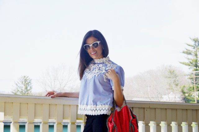 Lace≠shirt–blue