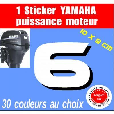 1 Sticker Yamaha Puissance Moteur 6 Cv Serie 2 Capot Moteur Hors Bord Bateau Barque Moteurs 1511007