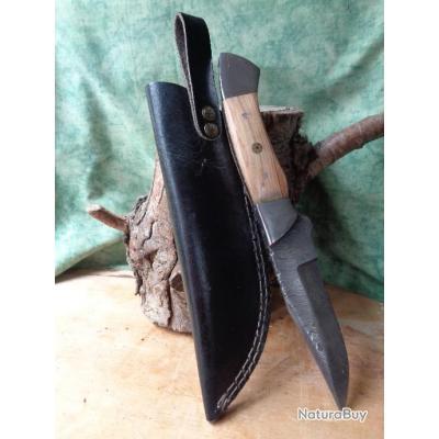 poignard skinner couteau de chasse damas lame 256 couches bowie manche bois fabric artisan etui cuir