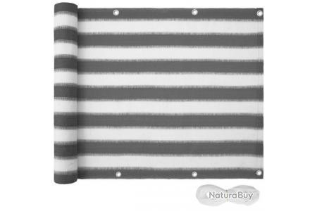 canisse brise vue paravent pour balcon blanc gris raye 90 cm 2208247