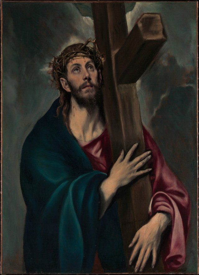 El Greco (Domenikos Theotokopoulos) (Greek, Iráklion (Candia) 1540/41–1614 Toledo) Christ Carrying the Cross, ca. 1577–87 Oil on canvas; 41 5/16 x 31 1/8 in. (105 x 79 cm) The Metropolitan Museum of Art, New York, Robert Lehman Collection, 1975 (1975.1.145) http://www.metmuseum.org/Collections/search-the-collections/459087