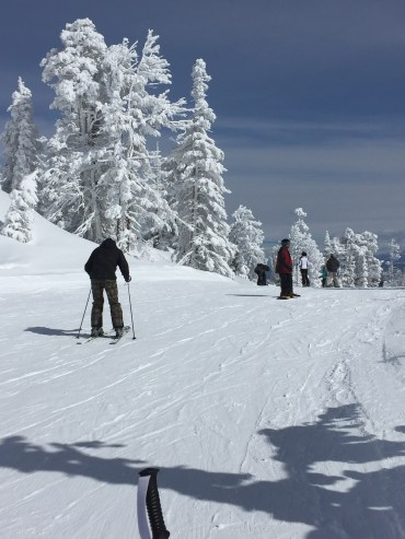 Skiing at Tahoe, green run