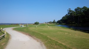 The mid-length par 3 10th hole isn't overly complicated, but it's defended by the immense distracting power that the Bogue Sound provides just on the left.