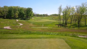One of the many photogenic but fear-inducing tee shots at the Club at Olde Stone.