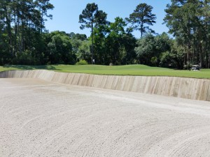 Fortunately, the sand in this massive bunker on the par 3 7th hole was in perfect playing condition.