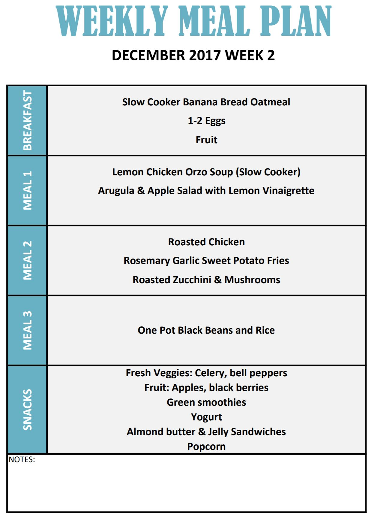 meal menus for the week