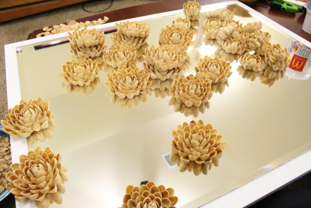 Pistachio Shell Flowers for Mirror Frame