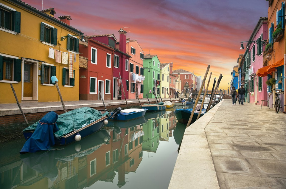 colorful murano island, italy