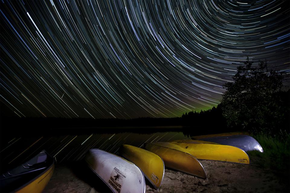 star trails over pog lake, canada