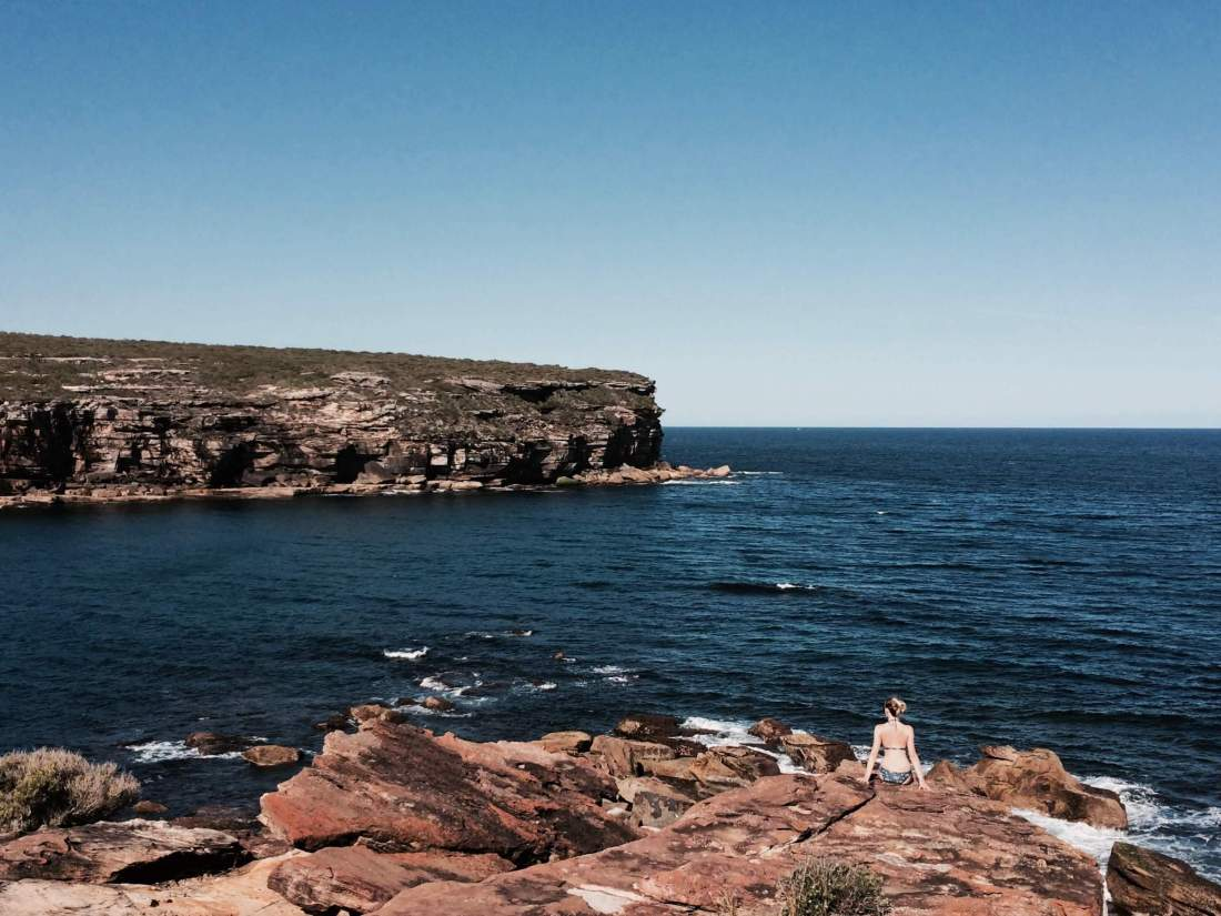 Girl overlooking Royal National Park NSW Australia