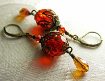 red orange earrings