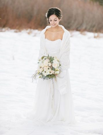 winter wedding bride, fur bridal wrap