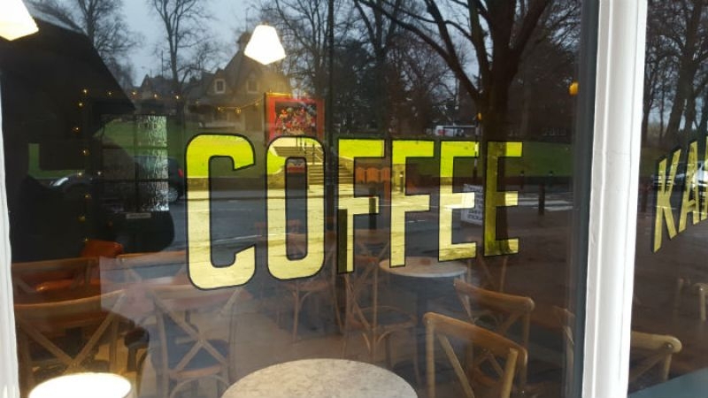 Kafenion Coffee shop window sign