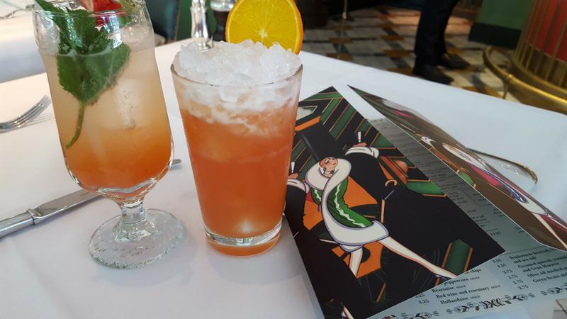 Strawberry and vanilla cream soda with peach iced tea cooler