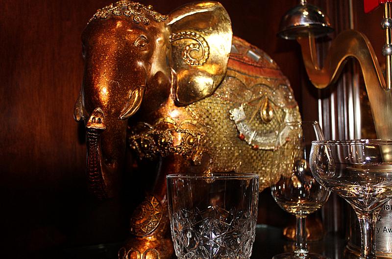 Golden jewelled elephant ornament