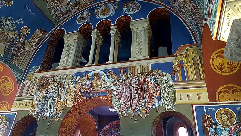 Lazarica interior wall with balcony