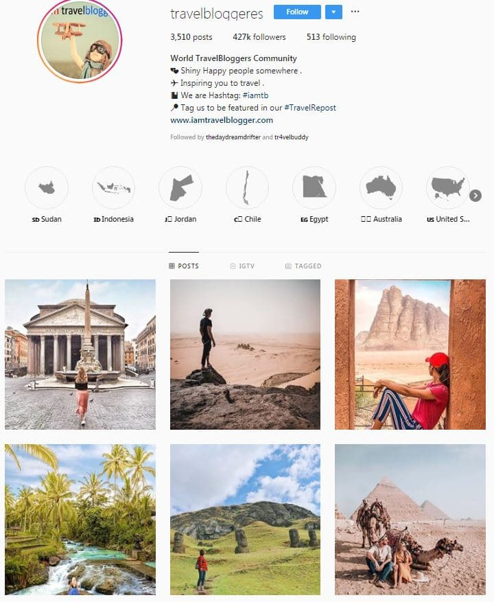 Instagram Accounts That Feature Travel photos- travelbloggers