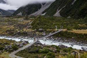 suspension bridge on Hooker Valley trail