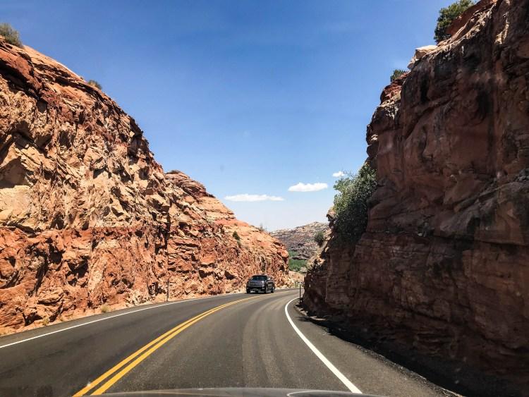 driving through utah canyons