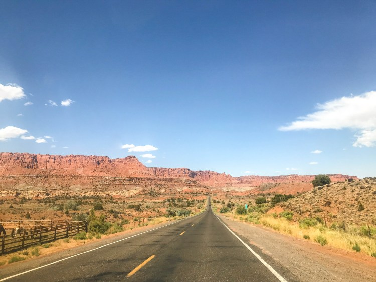 Driving into Capitol Reef National Park