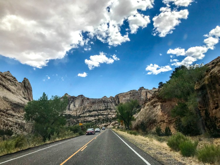 driving on byway 12 through capitol reef