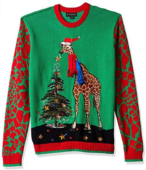 Best Ugly Holiday Sweaters on Amazon: Giraffe Tree Ugly Christmas Sweater
