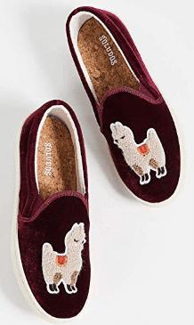 gifts for women Soludos Women's Velvet Llama Sneaker