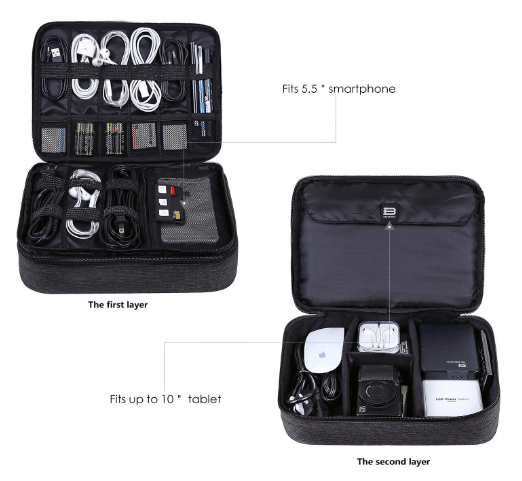 BAGSMART Double Layer Travel Electronics Organizer