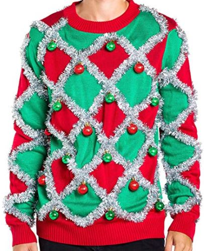 Best Ugly Christmas Holiday Sweaters on Amazon: Ornament and Garland Ugly Christmas Sweater
