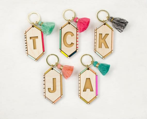 gifts for women Personalized Handpainted wooden initial keychain